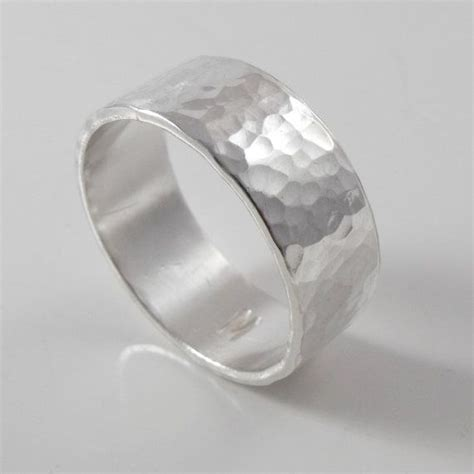 mans poesy ring wide hammered mens silver wedding band