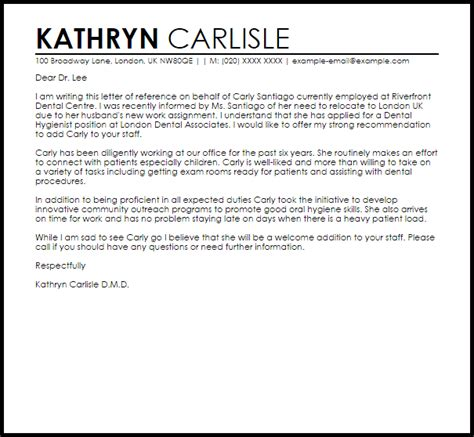 Letter Of Recommendation Late dental hygienist reference letter reference letters