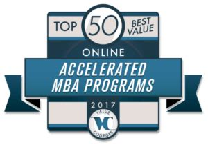 Mba Value 2017 by Top 50 Best Value Accelerated Mba Programs For 2017