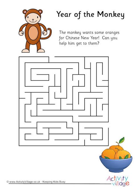 printable monkey maze year of the monkey maze 1