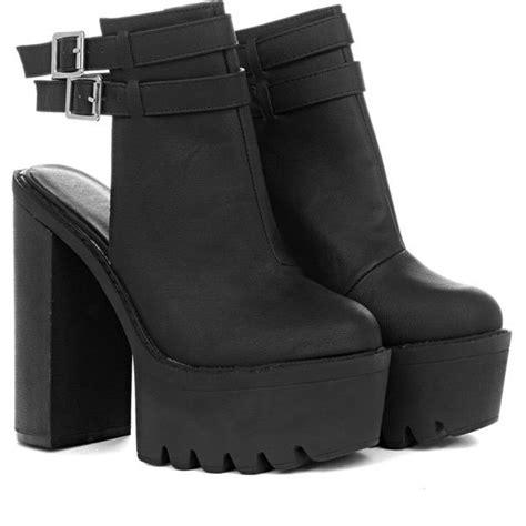 kataleya pu buckle boot in black featuring polyvore