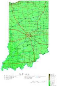Indiana State Map by Indiana Contour Map