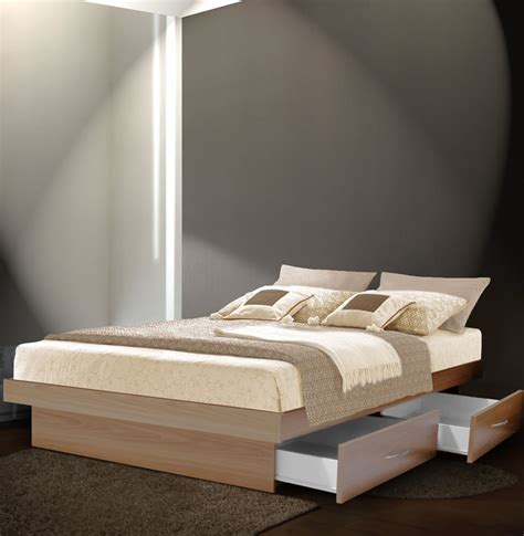 King Platform Bed With Drawers King Platform Bed With 4 Drawers Contempo Space