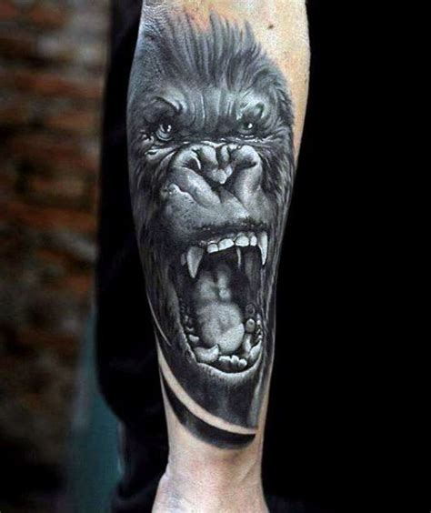 gorilla tattoo on chest angry mens gorilla tattoos on back of forearm in black ink