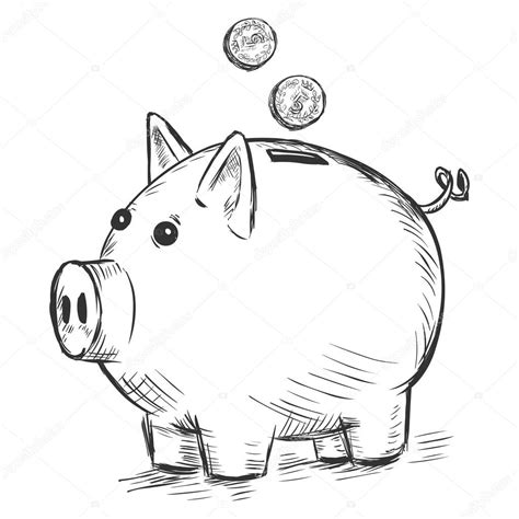 bank zeichnen vector sketch illustration piggy bank stock vector