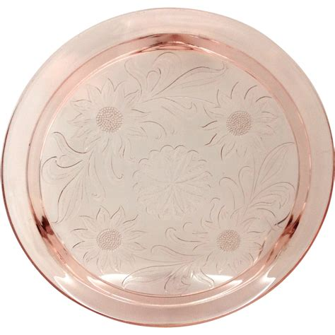 sunflower pattern pink depression glass jeannette sunflower pink depression glass cake plate from