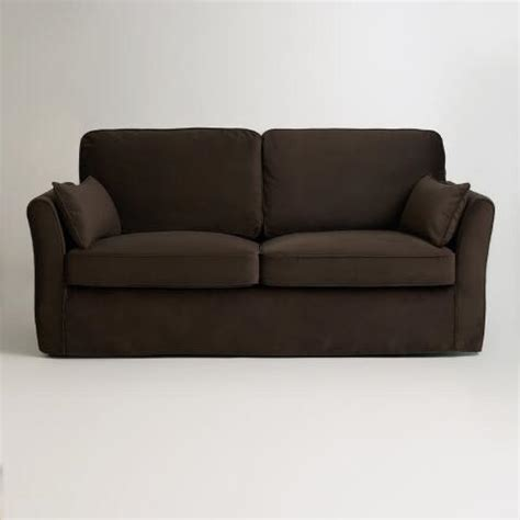 chocolate brown velvet sofa chocolate brown velvet fit luxe sofa slipcover