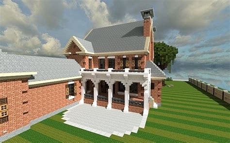 minecraft country house plantation home country old brick minecraft house design