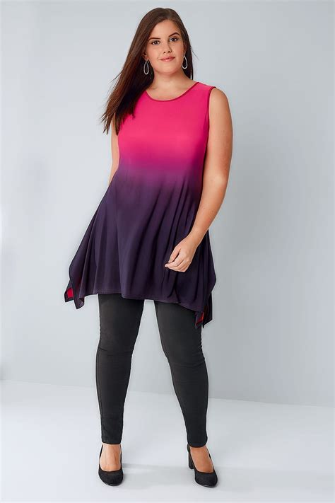 Cut Top pink purple ombre slinky stretch sleeveless top with cut out back plus size 16 to 36