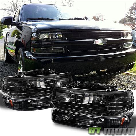 black 99 06 chevy silverado tahoe suburban headlights