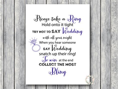 printable bridal shower ring game download pink and navy don t say bride or wedding game