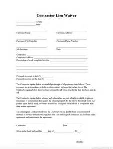 lien template sle printable contractor lien waiver form printable