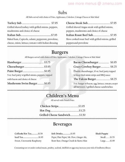 Paint Room Connellsville Pa by Menu Of Paint Room The Restaurant Connellsville
