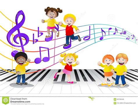 free music for babies group of children infront of music notes stock