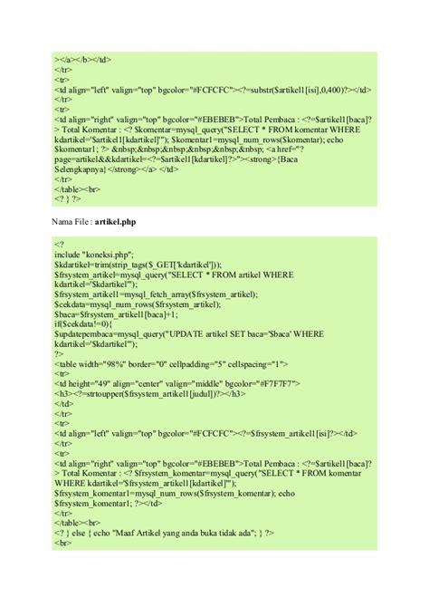 membuat artikel php membuat kategori artikel dan detail artikel menggunakan