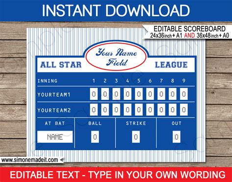 Baseball Party Scoreboard Backdrop Baseball Party Decorations Scoreboard Template For Powerpoint