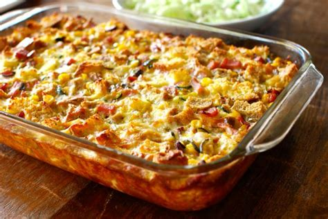 breakfast strata with ham zucchini and fresh corn eating made easy