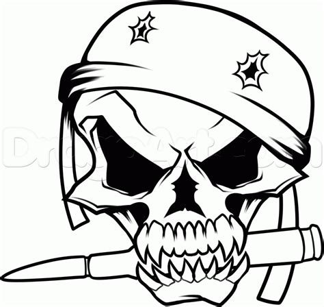 Army Skull Coloring Pages | how to draw a military skull step 11 painting