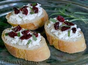 cranberry and goat cheese canap 233 s recipe with picture