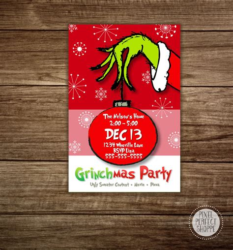 Grinch Card Template by Invitations Grinch By Pixelperfectshoppe