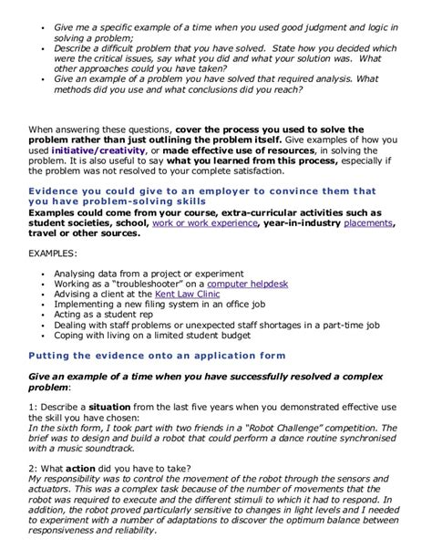 Problem Solving Skills Resume by Problem Solving Skills Exles Resume