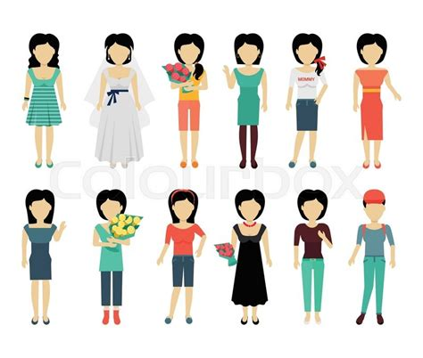 joe speedboot personages set of female characters without face in variety cloth
