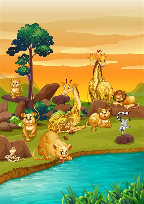 river scene   wild animals   vector