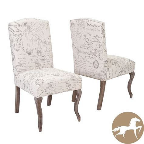 french script armchair crown top french script beige fabric dining chair set of 2 by christopher knight home by