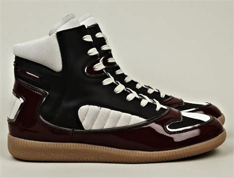 maison martin margiela mens sneakers maison martin margiela 22 men s burgundy patent mixed high