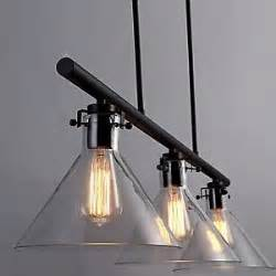 Industrial Style Island Lighting 3 Lights Glass Vintage Industrial Style Ceiling Pendant Bar Kitchen Island Light Ebay
