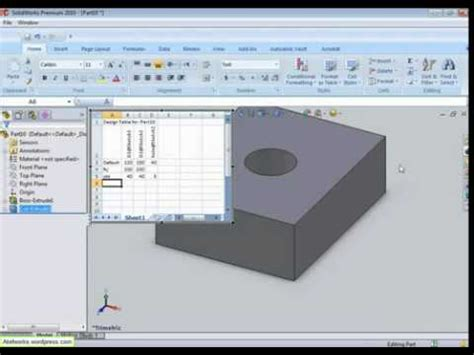 e16 solidworks 2008 excel design table doovi