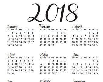 printable calendar year at a glance 2018 year at a glance calendar 2018