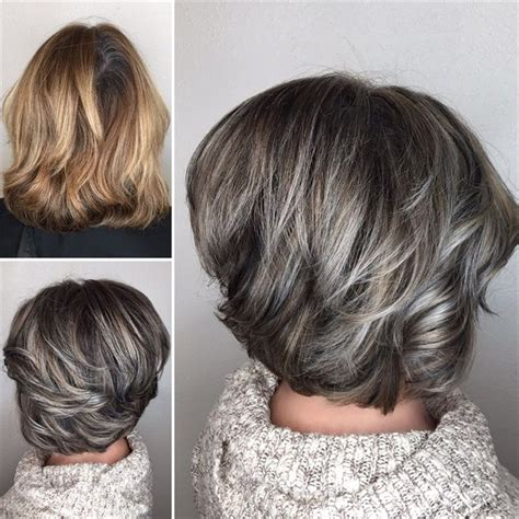 coloring and blending gray roots makeover gray blending asymmetrical bob hair color