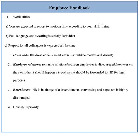 best photos of policy employee handbook template sle