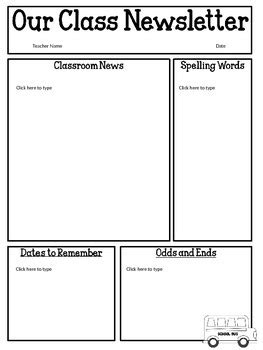 Free Editable Classroom Newsletter Template Power Point Tpt Free Classroom Newsletter Templates