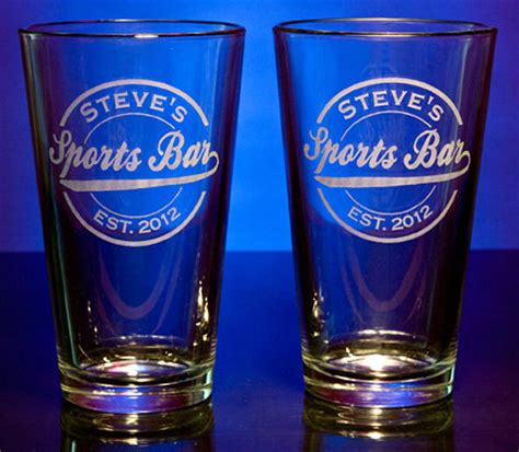 Personalized Bar Glasses Personalized Sports Bar Pint Glasses