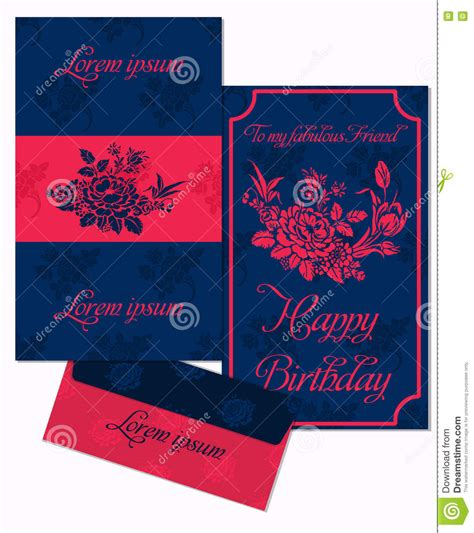 printable happy birthday envelope set of greeting cards and envelope in a luxurious vintage