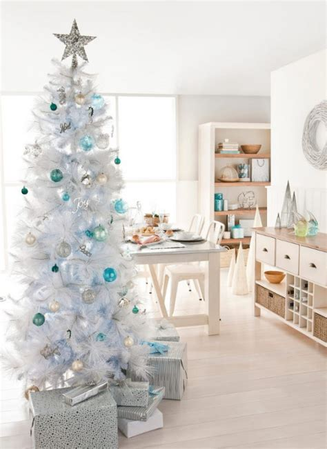 white christmas tree ideas blue decorations christmas
