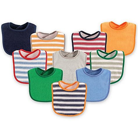 Luvable Friends Droller Bib With Closure luvable friends 174 10 pack stripes drooler bib set in blue from buy buy baby