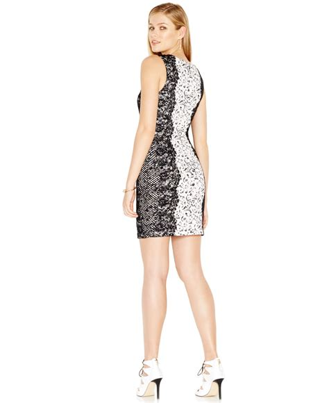 Guess Dress Bodycon guess colorblocked lace bodycon dress lyst