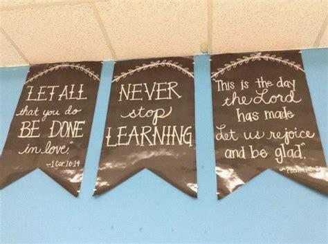 write on black paper peek inside my classroom idea for chalkboard pennants