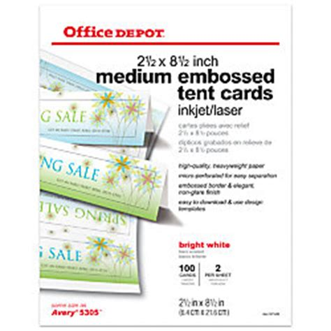 Office Depot Brand Inkjetlaser Embossed Tent Cards Medium 8 12 X 2 12 Bright White Pack Of 100 Office Depot Medium Tent Cards Template