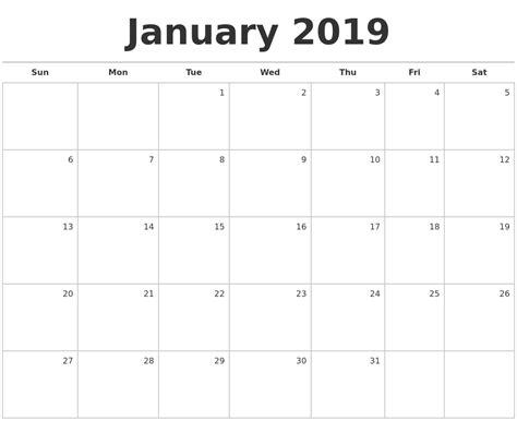 January 2019 Calendar Printable October 2018 Print A Calendar