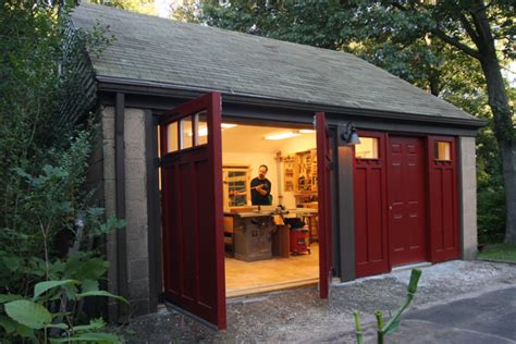 backyard workshop plans total garage shop makeover finewoodworking