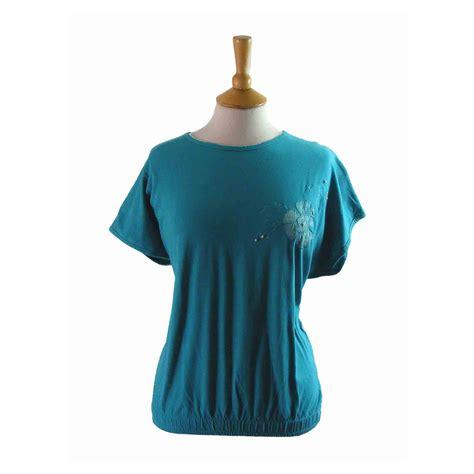 floral applique blue retro 80s shirt 16 blue 17