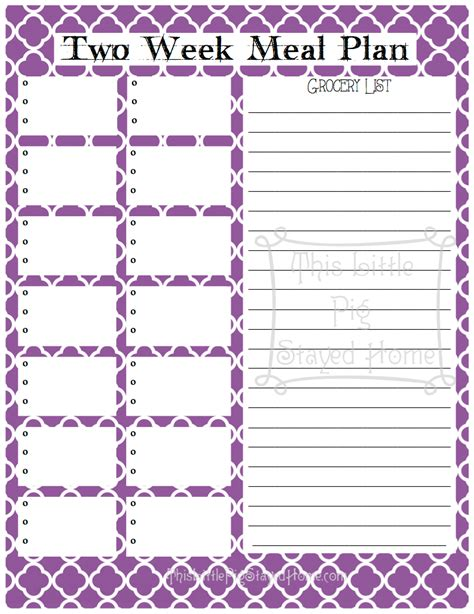 two week meal plan template two week meal planners