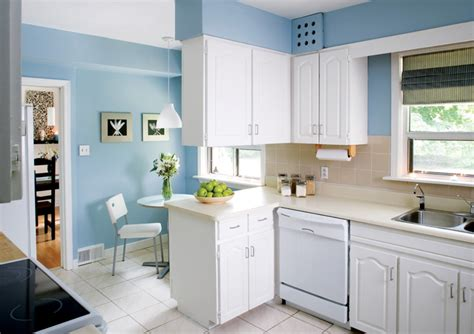 interior design kitchen colors soft blue wall color with classic white cabinet for small