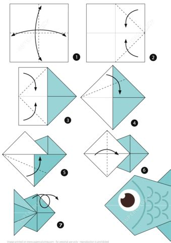 Paper Folding Fish - how to make an origami fish step by step
