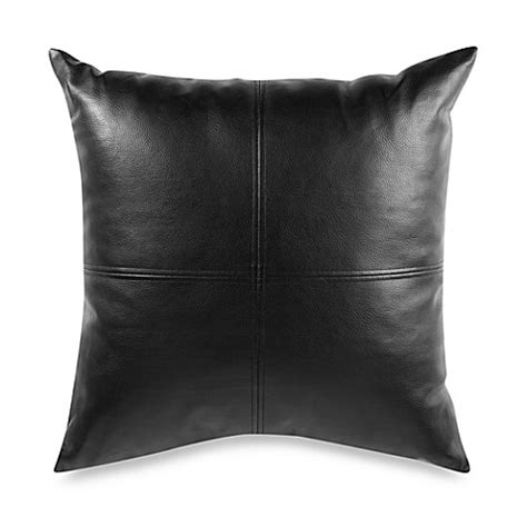 Throw Pillows For Black Leather by Black Faux Leather 22 Quot Decorative Toss Pillow Bed Bath