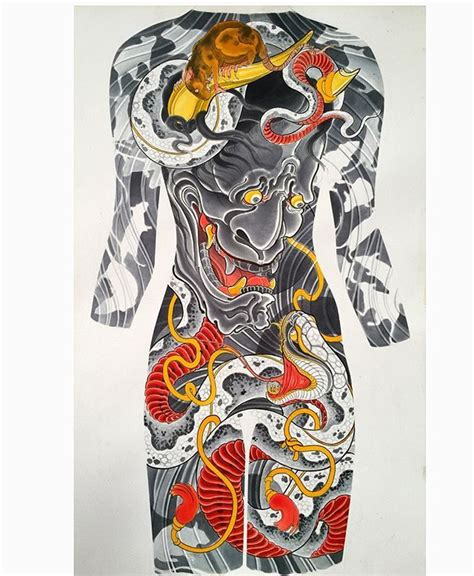 yakuza tattoo bear life sized painting of a female back concept hannya